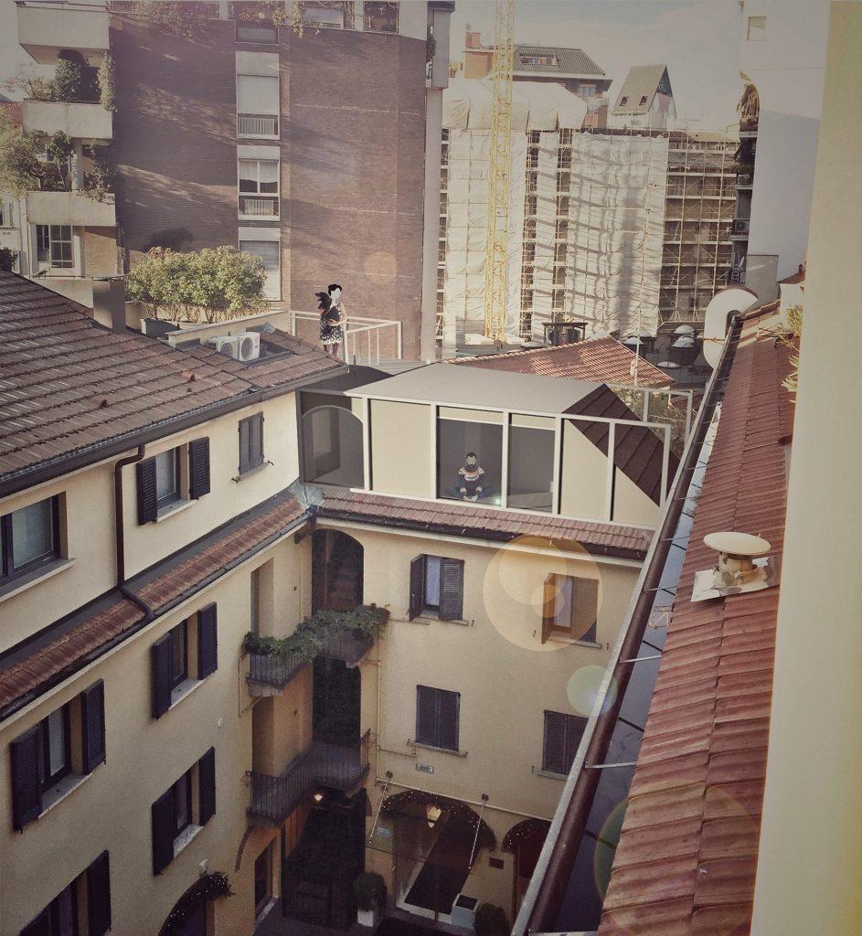 fgsa milano architettura sottotetto interno sopralzo moderno altana